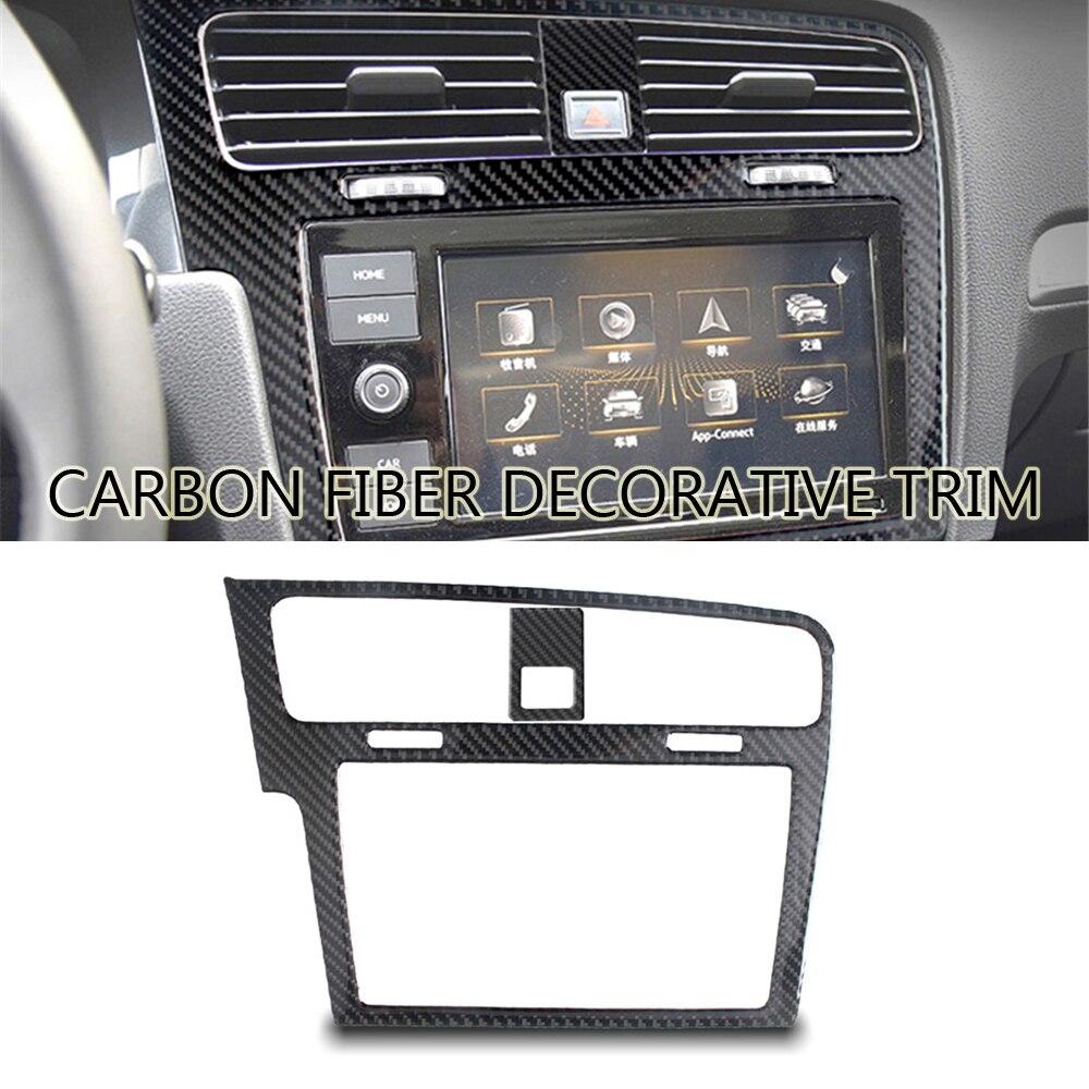 Pour Volkswagen VW Golf 7 GTI MK7 2014-2019 2 pièces style de voiture en Fiber de carbone GPS panneau de Navigation couverture garniture accessoires de voiture