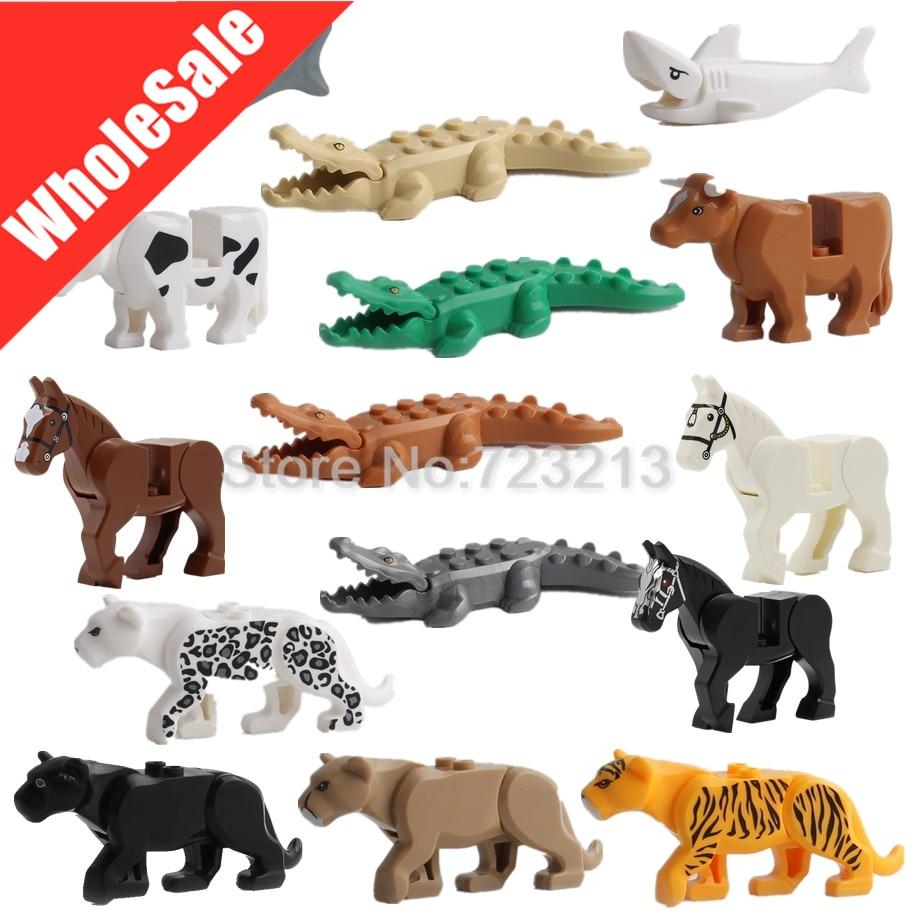 Venta al por mayor 30 unids/lote mismo animales cocodrilo oso leopardo Tigre vaca Lobo camello Sabertooth bloques de construcción bloques de modelismo kits de Juguetes