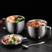 high quality double wall noodle bowl 304 stainless steel soup bowl with cover students dinner bowl ramen bowls