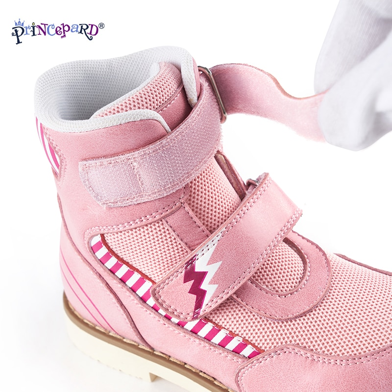 Princepard Autumn Orthopedic Sneakers Pink Gray Kids Orthopedic Shoes with Arch Support Genuine Leather Size European 19-37 enlarge