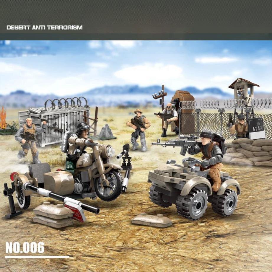 Mega bloque de construcción militar moderno escala 135 figuras de acción del ejército base antiterrorista desierto ww2 ladrillos juguetes para niños regalos