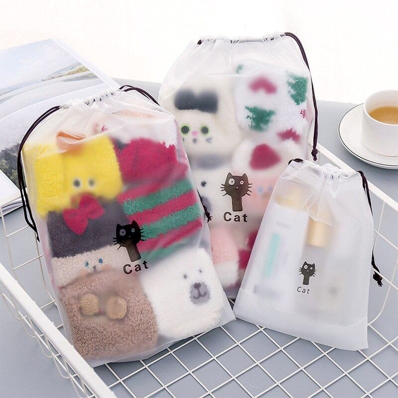 Gato animal transparente sacos de natação à prova dwaterproof água viajar zíper compõem bolsa organizador de armazenamento bolsa de higiene pessoal feminino lavagem kit