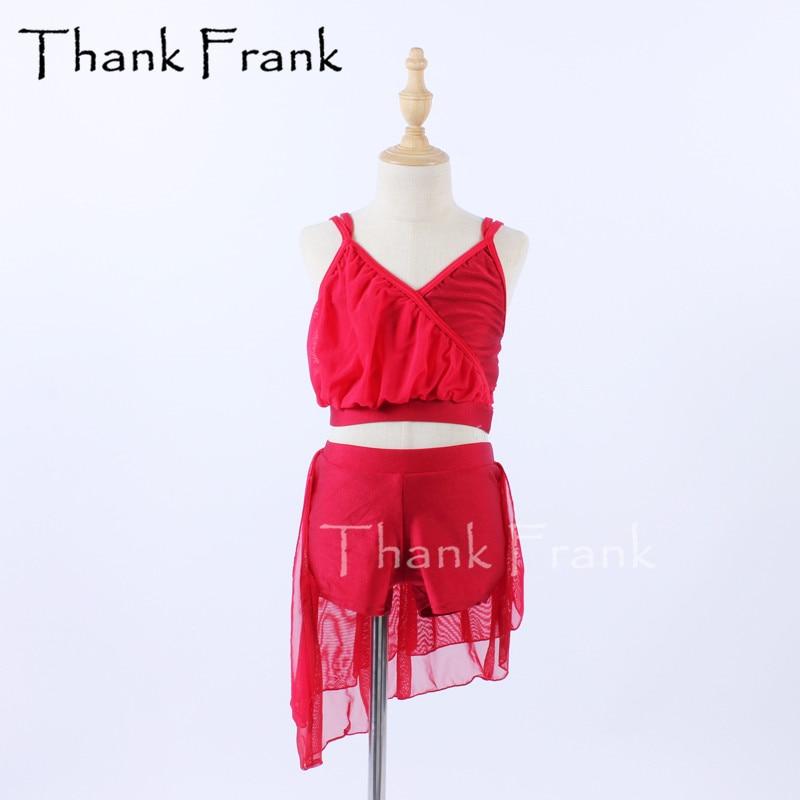زي رقص أحمر للبنات ، قطعتين ، عصري ، بروتيل غير منتظم ، ملابس رقص للبالغين