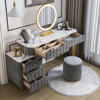 Nordic Marble Net Red Dressing Table Small Family Bedroom Dressing Table Beauty Shop Light Luxury with Cabinet Dressing Table