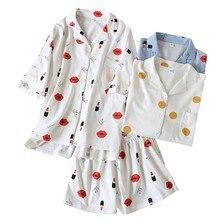 Ladies Pyjamas Set Lips Printed Full Cotton Loose Summer Sleepwear Women Turn-down Collar Cardigan+Shorts 2Pcs Comfort Homewar