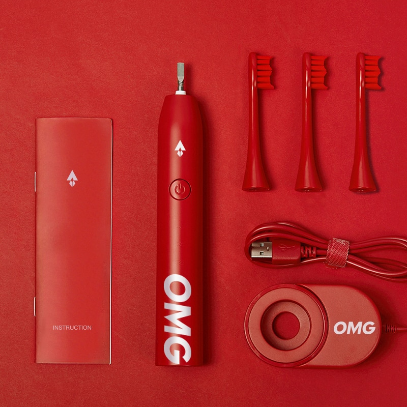Apiyoo Fashion Electric ToothBrush OMG Red Smart Sonic Brush Ultrasonic IPX7 Super Red 5 Modes Automatic Fast Wireless Charge enlarge