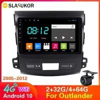 4gwifi android 10 car radio multimidia player navigation gps for mitsubishi outlander xl 2 2005 2012 head unit bt rds no 2din