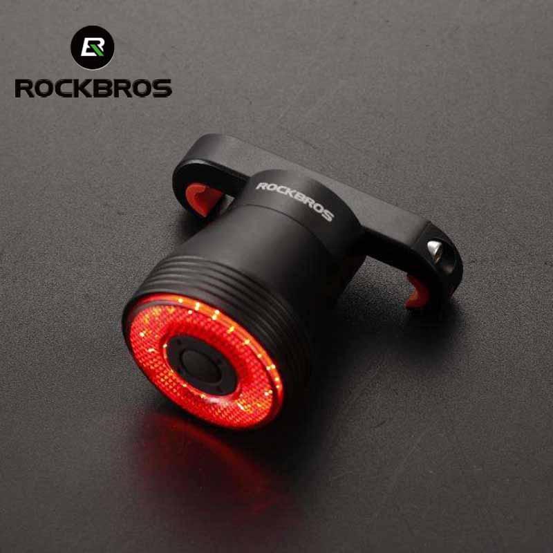 ROCKBROS-luz LED trasera Q5 para bicicleta de montaña, Sensor inteligente, USB, accesorios...
