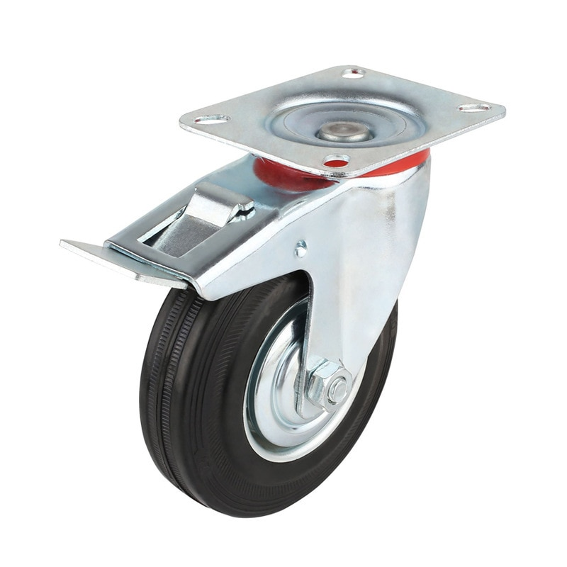 4 قطعة 75 مللي متر الثقيلة 200 كجم دوارة عجلات الخروع عربة الأثاث كرسي عجلات المطاط الفرامل عجلة عربة ruedas para mueble
