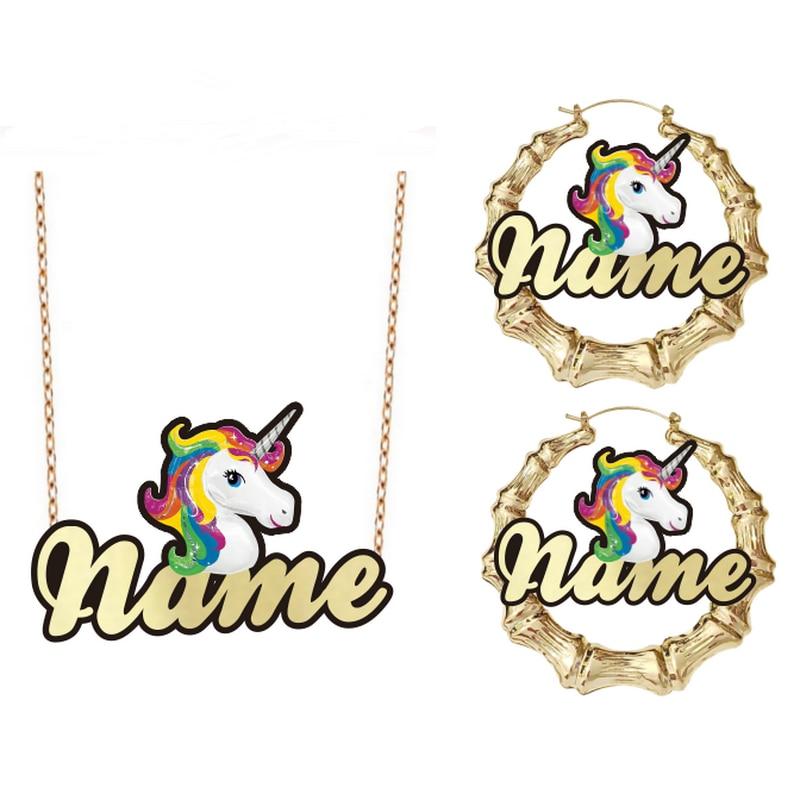 مجموعة من القلائد والأقراط للأطفال ، شخصية شخصية كرتونية باسم الحصان الوردي وحيد القرن ، مجموعة مجوهرات الأزياء ، هدية