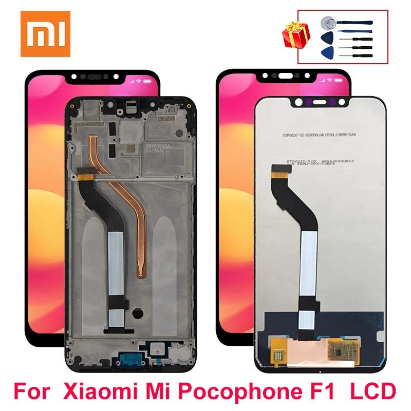Para Xiaomi pocofone F1 LCD pantalla táctil con marco digitalizador montaje para Xiaomi Mi pocofone F1 LCD reemplazo de pantalla