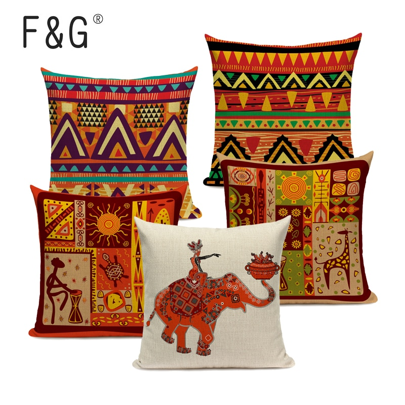 African Style Geometric Printing Cushion Covers Ethnic Linen Throw Elephant Pillow Case Sofa Car Seat Home Decorative Custom