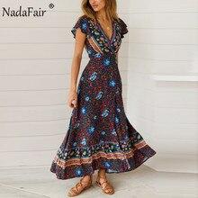 Nadafair Vintage fleurs Maxi robes élégant plage ceinture Sexy col en V fendu impression tunique longue été Boho robe femmes Vestidos