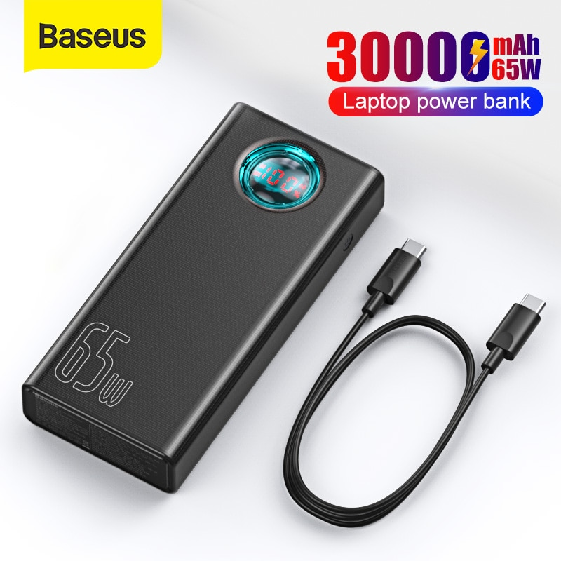 Baseus Power Bank 30000mAh 65W PD Quick Charge QC3.0 Powerbank For Laptop External Battery Charger F
