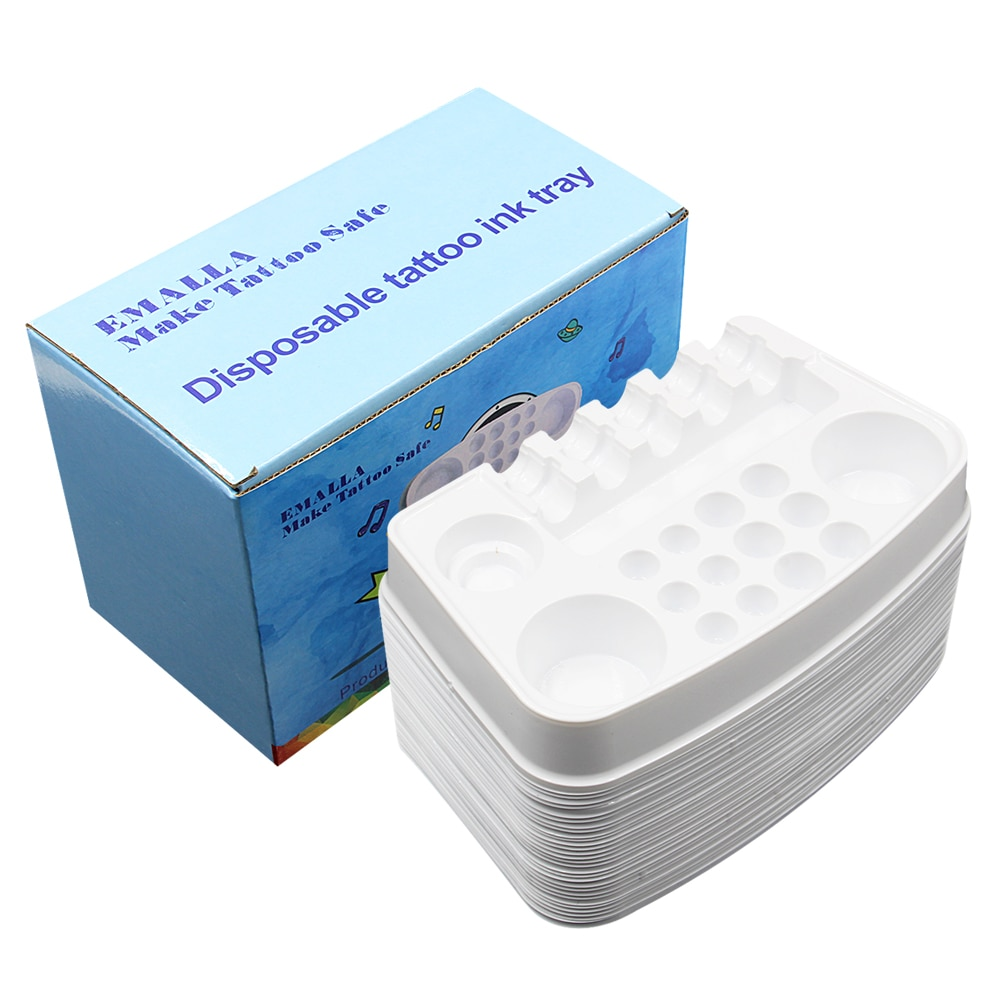 Фото - 30pcs/box Disposable Tattoo Ink Tray White Plastic Pigment Tray Color Palette Holder Adhesive ink Tray Holders Tattoo Ink Palet rescue ink rescue ink