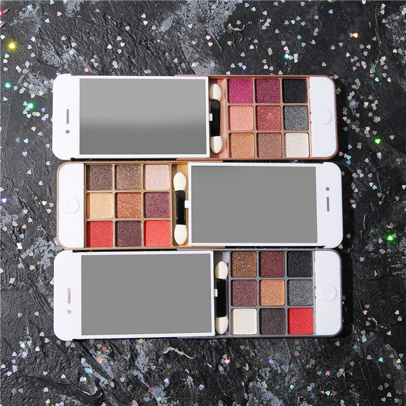 Eyeshadow beleza compõem escova maquiar contorno do telefone móvel pérola luz deserto rosa 9 cor sombra metálica tslm1