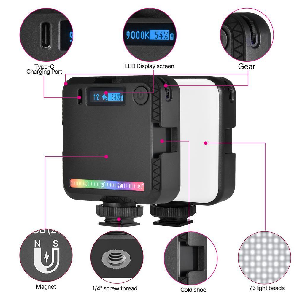 Mini RGB LED Video Light Portable Pocket photography Light Vlog Fill Light for Smartphone Camera Lamp 2500K 9000K enlarge