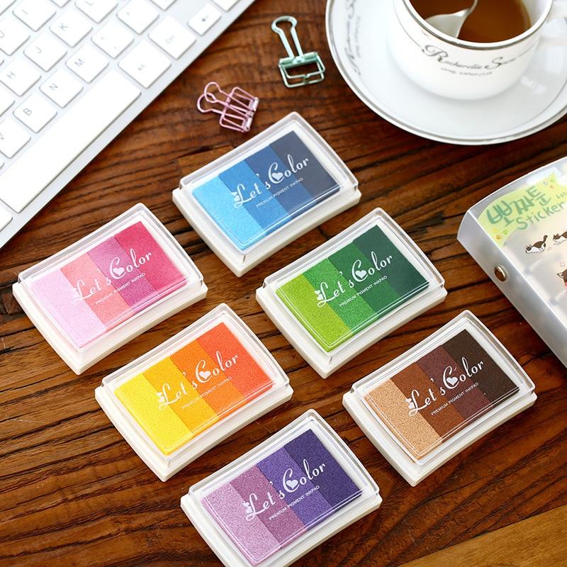 (6 pieces/lot) Creative Candy Color Gradient Color Inkpad DIY Seal Ink Pad Multicolor