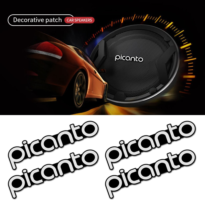 4 Uds audio del coche decorar 3D insignia de aluminio emblema pegatina para KIA Picanto 2017 2018 2019 accesorios de coche