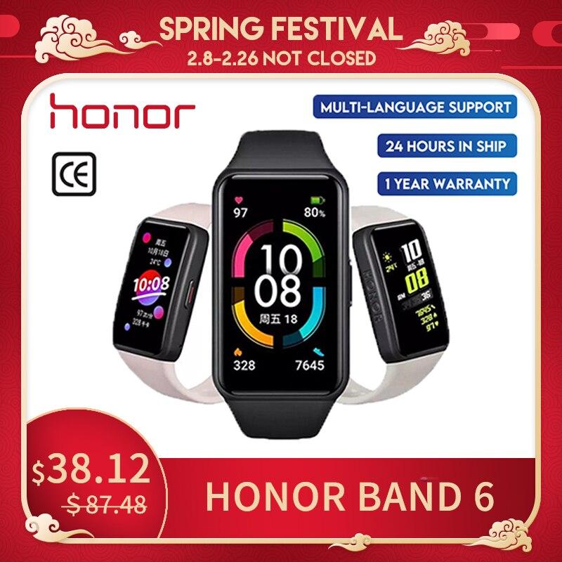 """Mais novo huawei honor band6 pulseira inteligente 1st tela cheia 1.47 """"amoled cor touchscreen spo2 nadar freqüência cardíaca sono em estoque nfc"""