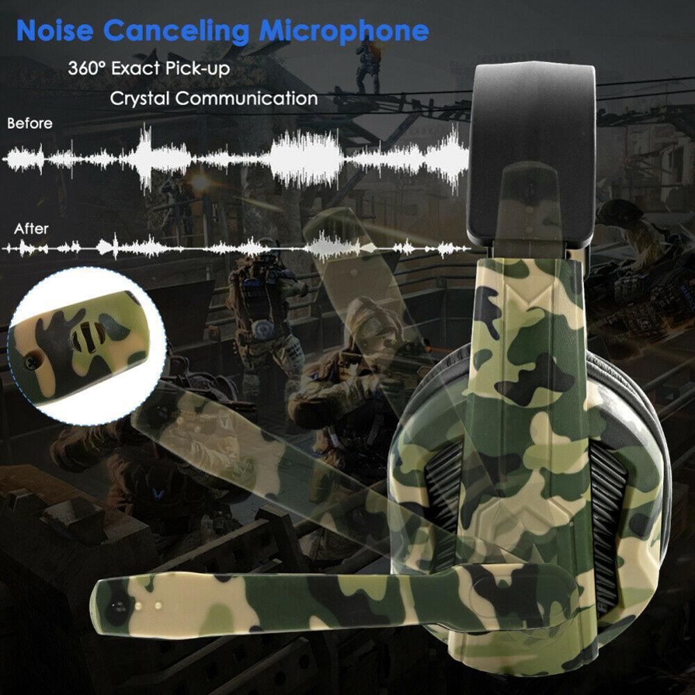 Camo wired gaming headset ps4 camuflagem fone de ouvido sobre fone de ouvido com microfone para ps4 xbox-um para interruptor de jogos de vídeo para computador