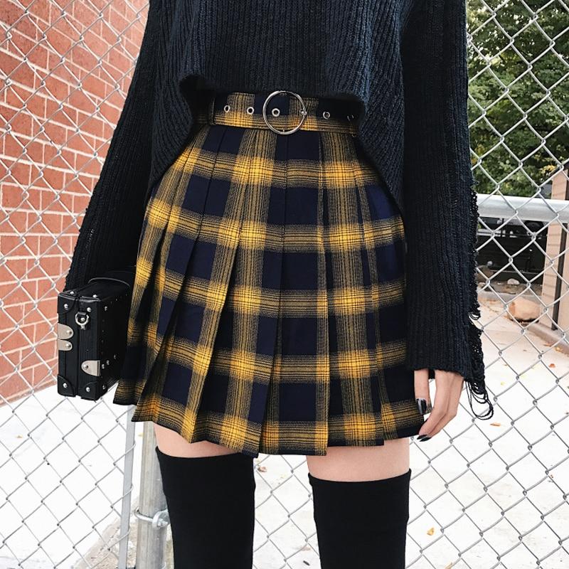 Frühling Sommer Harajuku Frauen Mode Röcke Nette Gelb Schwarz Rot Plissee Rock Punk Stil Hohe Taille Weibliche Mini Kurzen Rock