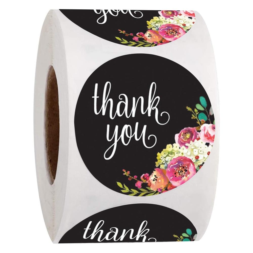 500 вещи, Цветочная расцветка, наклейка «спасибо» черный фон этикетки для подарка посылка украшения конверт этикетки для печати, поставка ка...