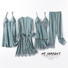 Five-Piece Pajamas Women's Summer Thin Silk Nightgown Nightdress Sexy with Breast Pad Overall Dress