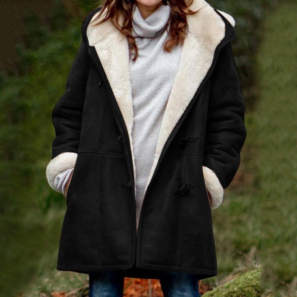 2021 осенне-зимние женские теплые куртки плюшевый Карманный пальто с капюшоном кардиган бархатное пальто с длинным рукавом утепленные Теплы...