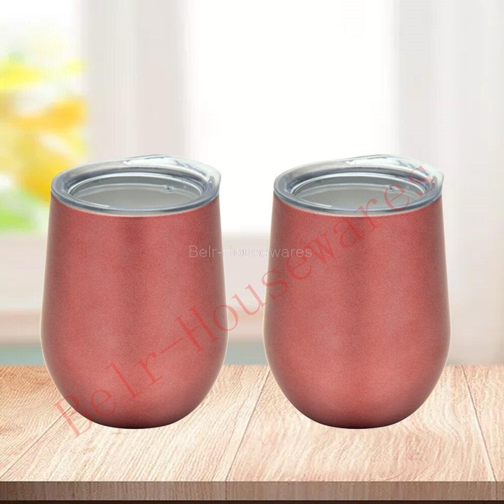 2 uds. Vaso de vino aislado al vacío con tapa oro rosa 12oz doble pared sin tallo aislado copa de vino Dropshipping