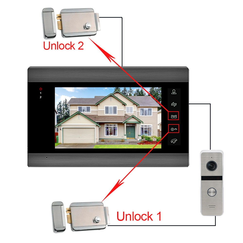 New 7inch Wireless Wifi Video Intercom System for Home Video Intercom Support Remote Unlock,Motion Detect Record Door Camera enlarge