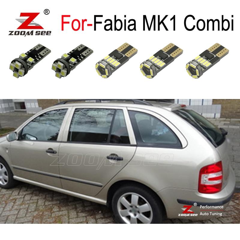 Lámpara LED de 17 piezas para maletero + bombilla LED para puerta + luces LED de cúpula Interior para Skoda Fabia para 1 MK1 MKI Combi Wagon Estate (1999-2007)