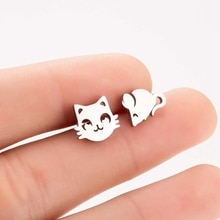 Tiny Cat Mouse Stud Earrings For Women Stainless Steel Asymmetric Cartoon Animal Cat And Mouse Earri