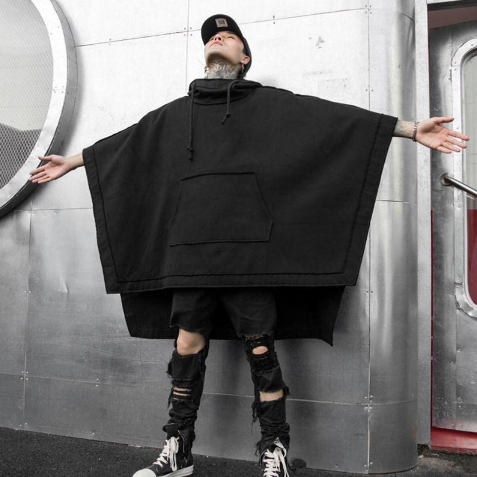 Худи HOUZHOU Techwear черное большого размера, толстовка, мешковатый Тренч, пальто, Анорак, мужской стиль, панк, стиль хип-хоп, готика