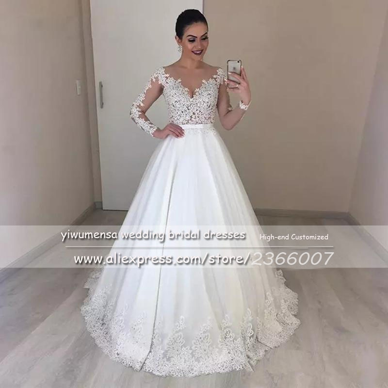 Luxury Princess A Line Country Beaded Bridal Dresses Illusion Sheer O Neck Long Sleeves Wedding Dress Plus Size Robe De Mariee