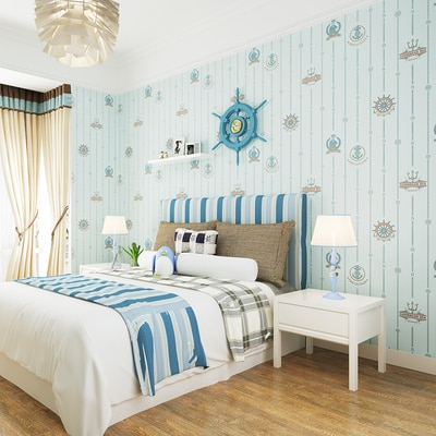 PAYSOTA Blaue Mittelmeer Vertikale Tapete Kinderzimmer Schlafzimmer Jungen Mädchen Umweltschutz 3D Cartoon Wand Papier R