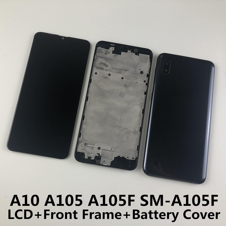 Para SAMSUNG Galaxy A10 A105 A105F SM-A105F pantalla LCD digitalizador de pantalla táctil + cubierta trasera de la batería del marco frontal de la carcasa