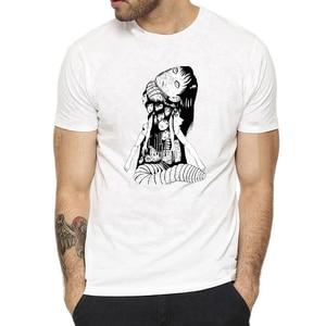 Summer Men Casual Tees Uzumaki Shirt Junji Ito Horror Manga Shirts Funny Cotton T Shirt Harajuku Streetwear Camisetas Hombre