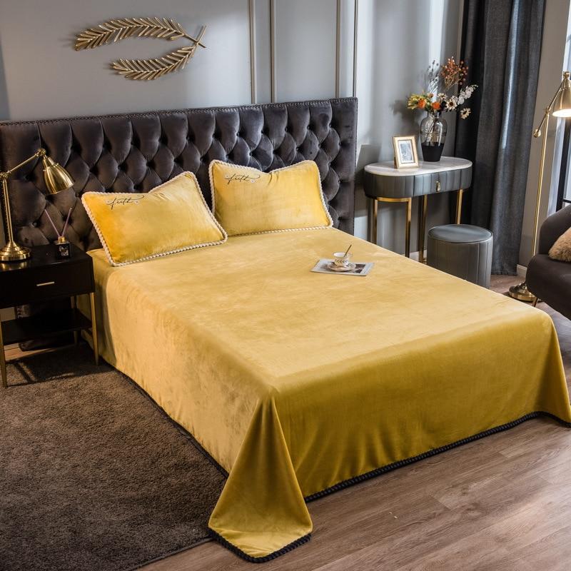 ملون كريستال المخملية ورقة الصيف بطانية المفرش غطاء لينة مريحة الأخضر السرير ورقة مسطحة فقط