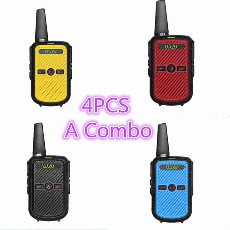 4 pçs wln KD-C50 2 w tamanho pequeno barato uhf c52 handheld pmr rádio de 2 vias fmr walkie talkie transceptor comunicador