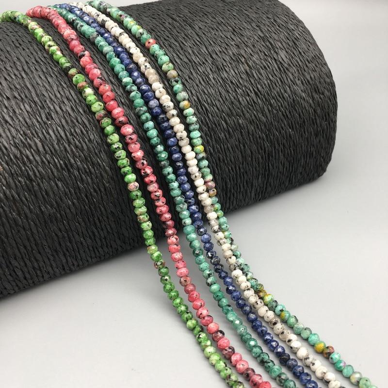 3*4mm Piedra Natural Esmeralda rubíes zafiro hecho a mano con cuentas para hacer joyas piedra DIY pulsera collar material artesanal regalo