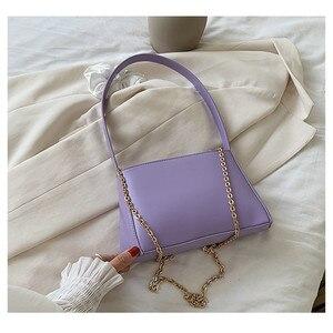 2020 New Fashion PU Leather Baguette Bags For Women Sac Femme Chain Crossbody Bag Simple Ladies Hand Bag Designer Shoulder Bag