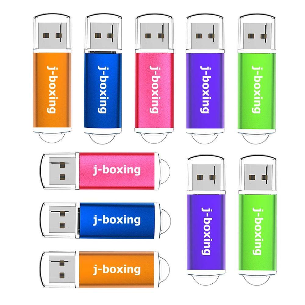 J-boxing USB Flash Drive 16GB 32GB Rectangle Jump Drive USB 2.0 Memory Pendrive with Cap 1GB 2GB 4GB 8GB Multicolors 10PCS/Pack