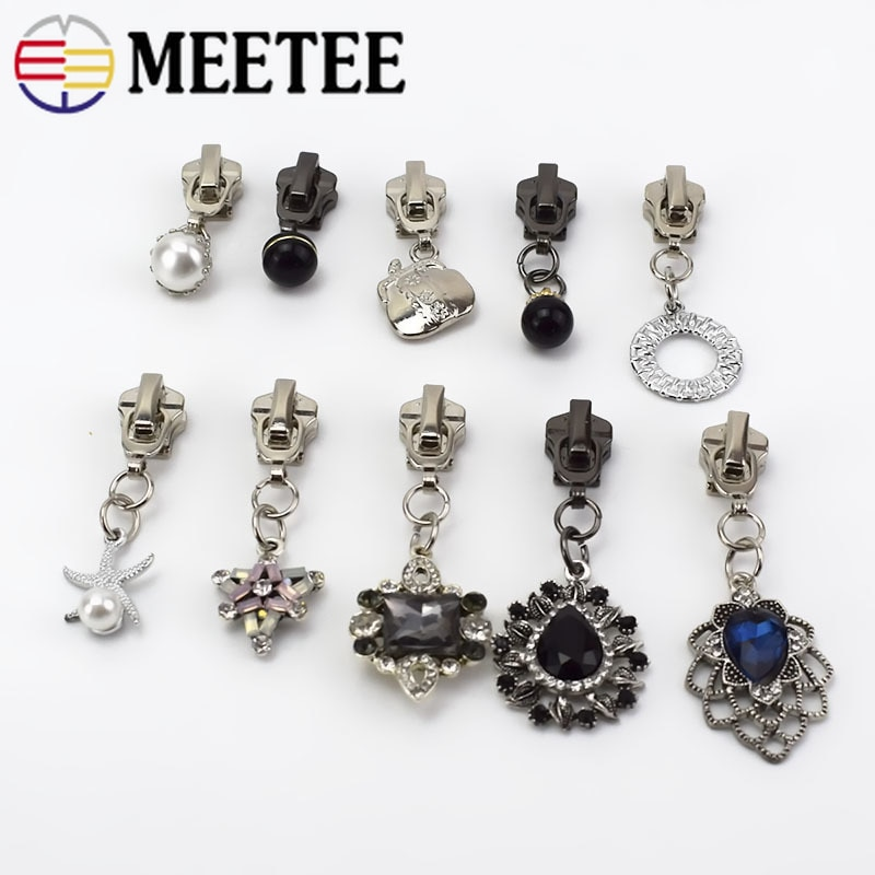 Meetee 5 pçs # metal zíper sliders cabeça para metal zip jaquetas diy roupas zip pingente kit de reparo saco acessórios decoração do vestuário
