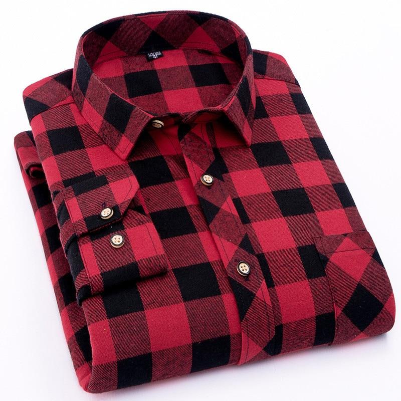 mens red flannel plaid shirt, dress casual, clida, soft, long sleeve, 2021