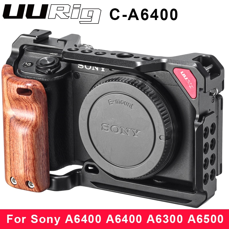 UURig Metal Cage Case for Sony A6400 A6300 A6100 A6500 with Wooden Handle Cold Shoe 1/4 Screw 3/8 Screw for Microphone LED Light