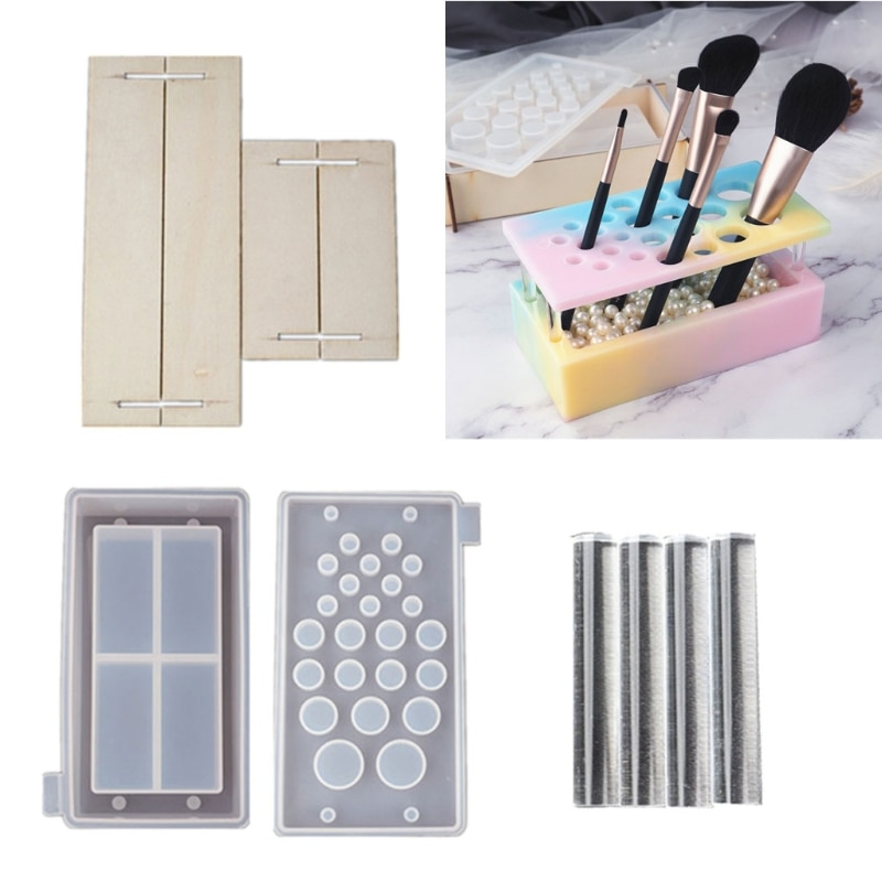 Handmade Makeup Brush Holder Organizer Resin Mold Cosmetics Brushes Storage Solution Resin Casting Mold Art Crafts Tools B03B