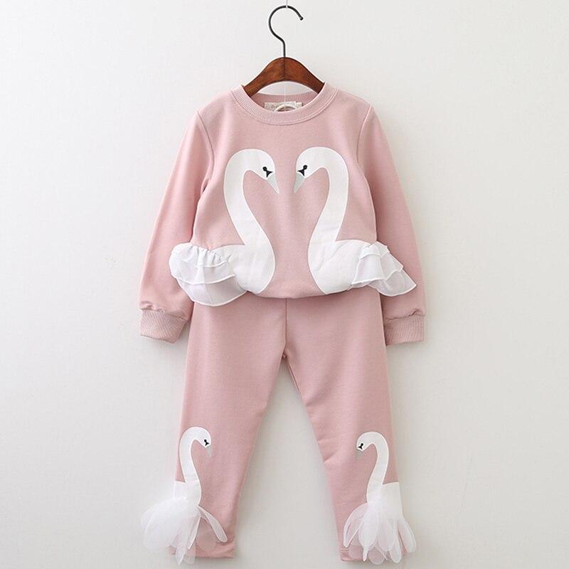 Menoea meninas roupas ternos do bebê meninas rosa conjuntos de roupas bonito cisne camiseta calças da criança infantil roupas crianças traje
