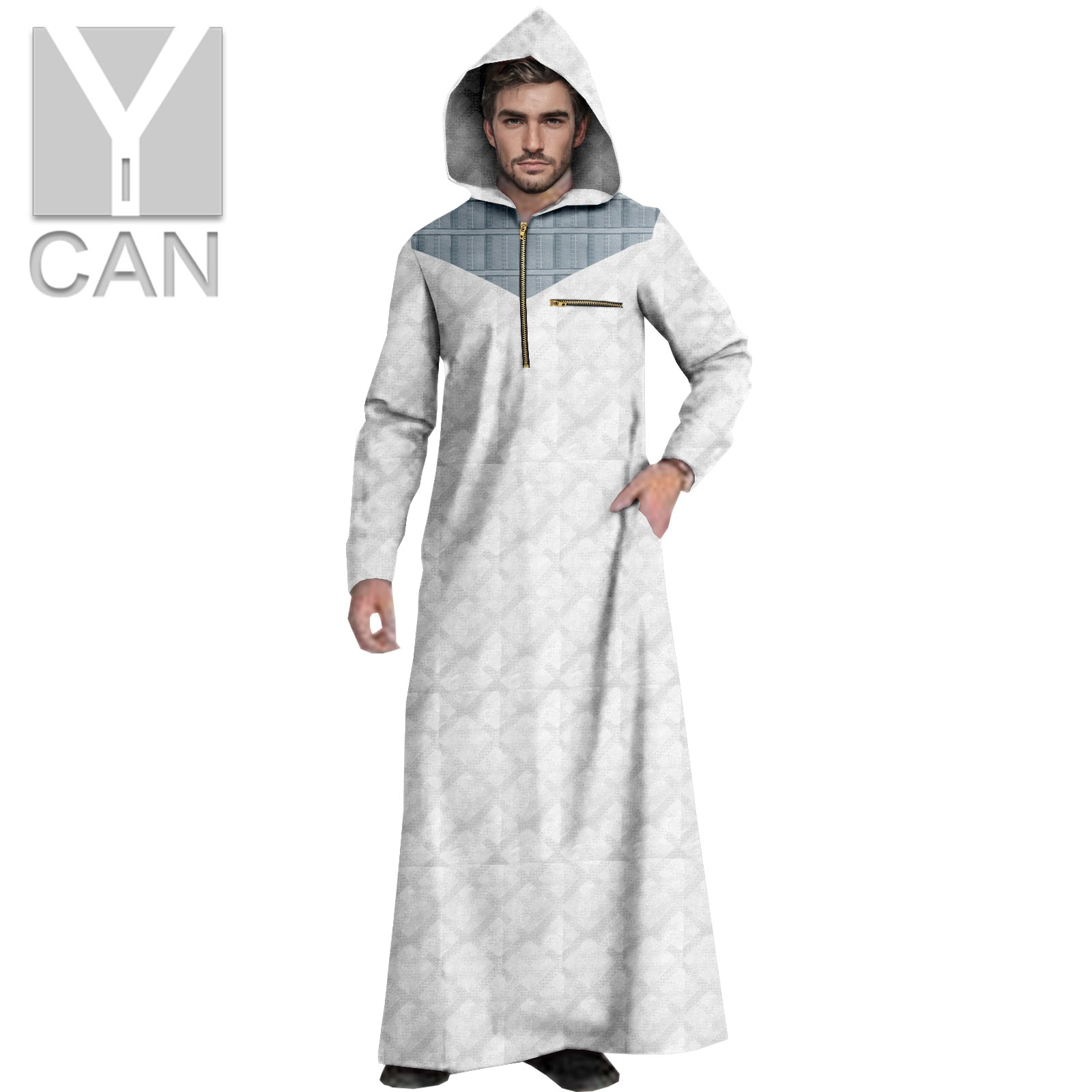Y-CAN Muslim Men Arab Islamic Kaftan Pakistan Free  Abaya HoodedLong Sleeve Fashion Saudi Arabia Men Jubba Thobe Texture Y211002