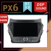 PX6 excellentes performances Android 9.0   GPS multimédia de voiture pour HYUNDAI IX45 Santa Fe 2013 DSP, bande de Navigation sonore, enregistreur